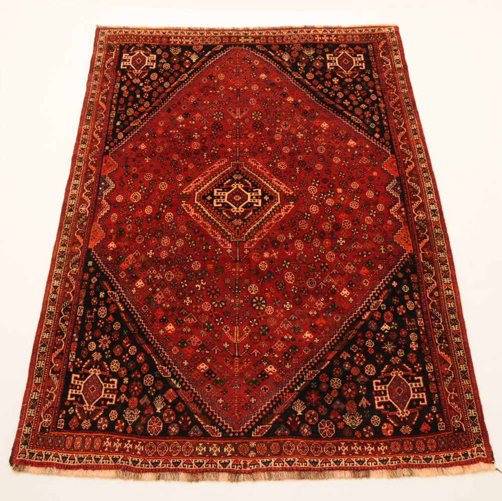 Red 6' X 9' Qashqai Rug Hand Knotted Persian Rug