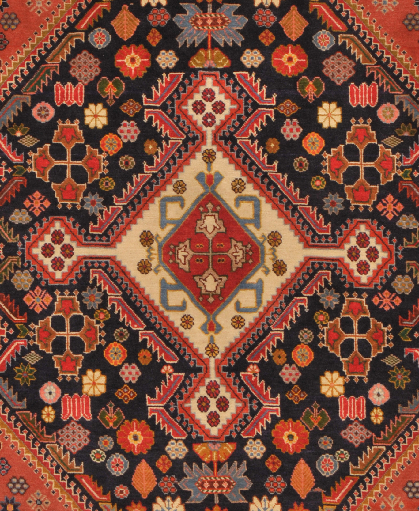 Rust 4' X 5' Qashqai Rug Hand Knotted Persian Rug