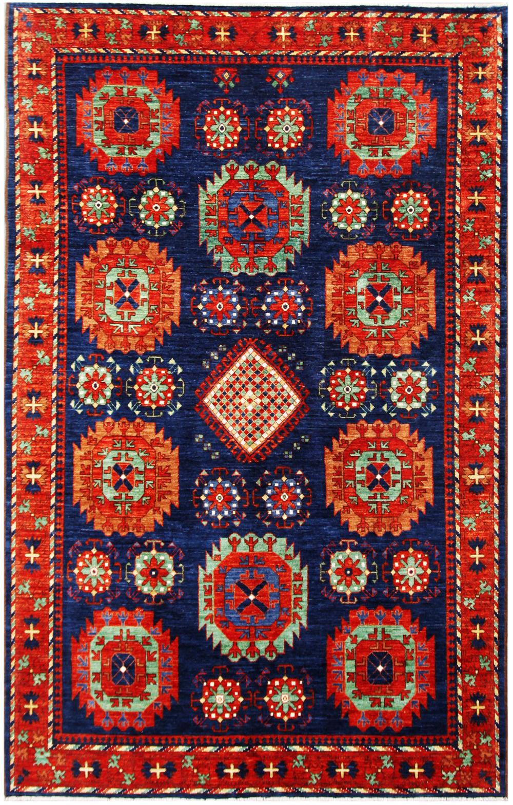 Blue 7 X 11 Kazak Azari Rug Hand Knotted Oriental Rug Ebay