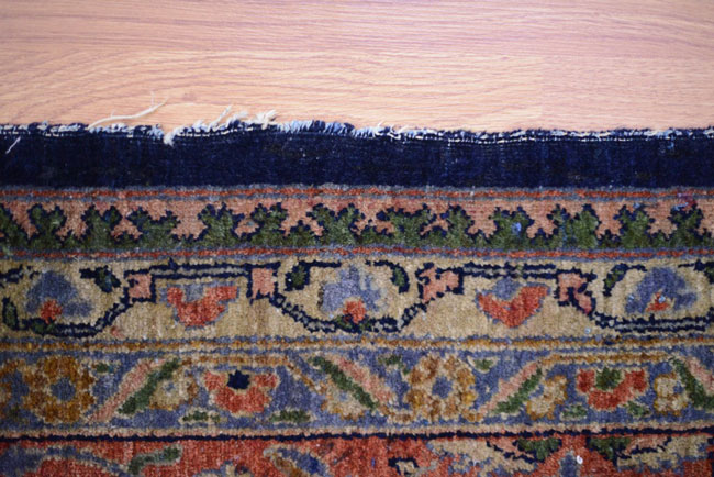 Two pictures shows the damage of side and Oriental Rugs Repair