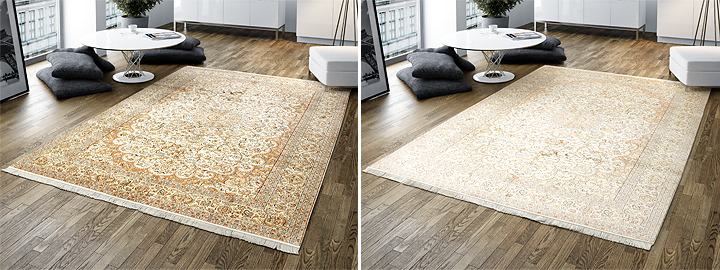 various color tones on rug