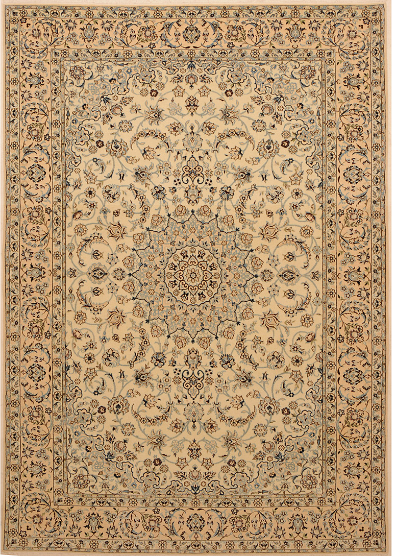 Ivory color nain rug with floral desin