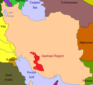 Map showing the Qashqai region in Iran