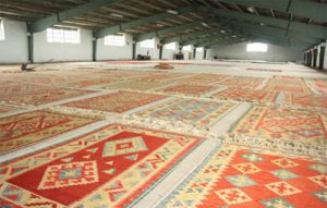 Persian rugs being dried