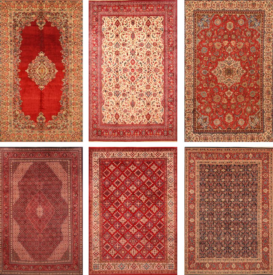 Different pattern on Sarouk Rugs Floral, open Filed, Herti, Allover Geometrical
