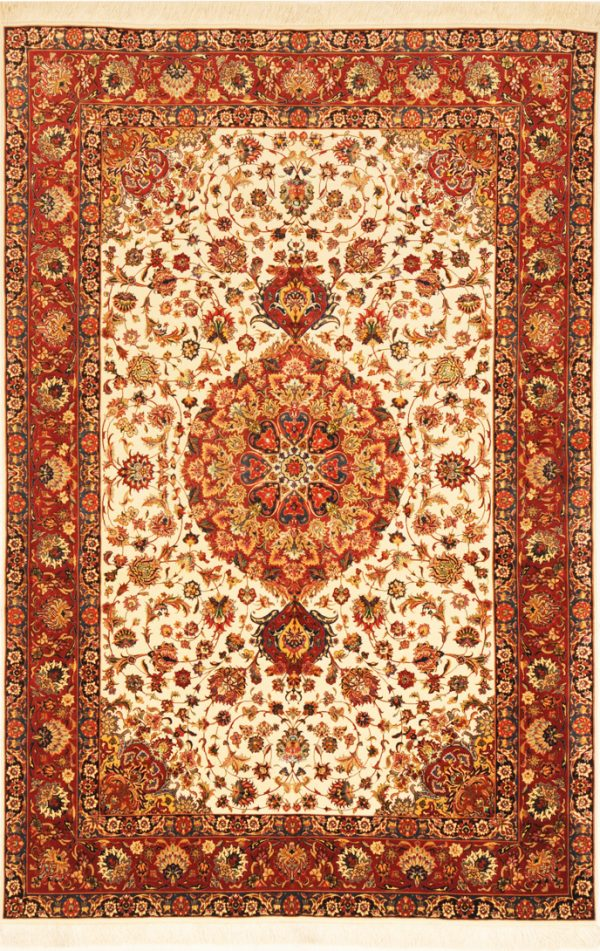 Wool And Silk Persian Tabriz Rug