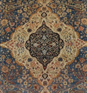 Close up of Medallion from Kashan Mohtasham Rug