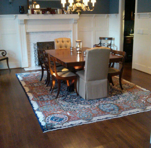 What size rug to use for your dining room for Dining table rug