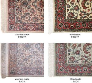 Front and back of Machin made rugs and hand knotted rugs