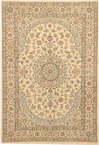 Nain Rug with back ground color cream with different blues