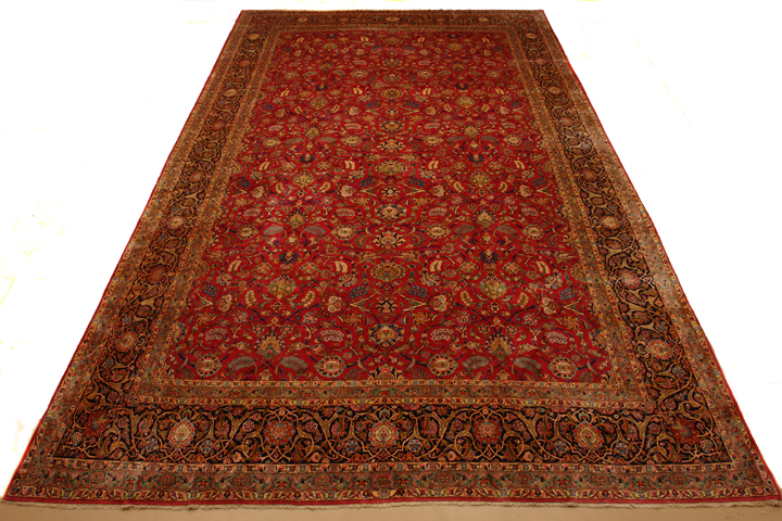 14 X 22 Red Kashan Persian Rug With Shah Abbas Field