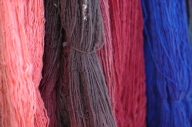 Wool Dyed In Different Colors.