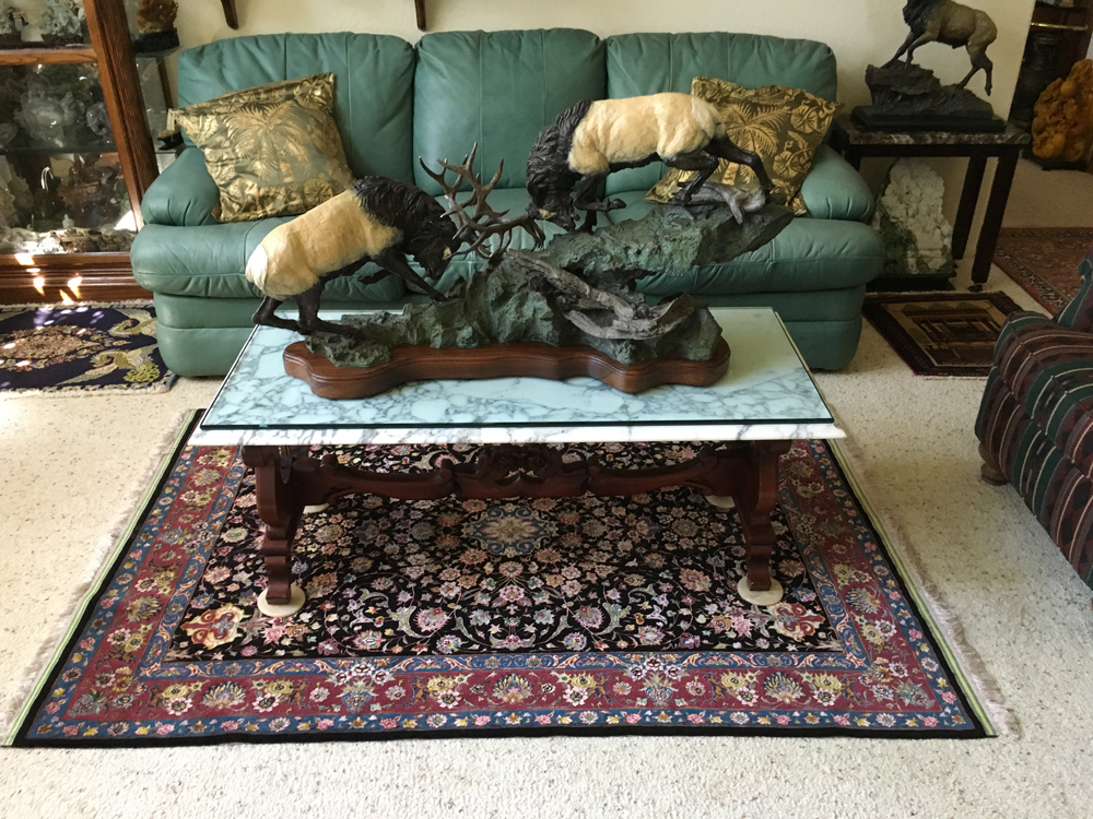 Silk And Wool Tabriz Rug In A Living Room