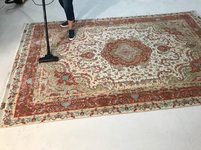 Vacuuming Persian Rug