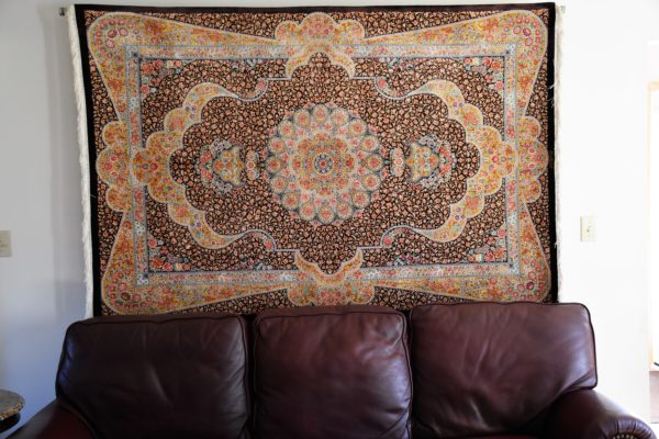 Qum Pure Silk Fine Persian Rug Hanged In The Wall