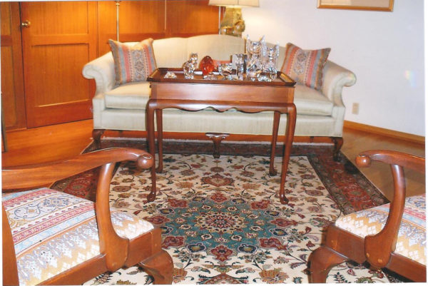 Tabriz Silk And Wool FinePersian Rug With Silk Foundation In The Living Room