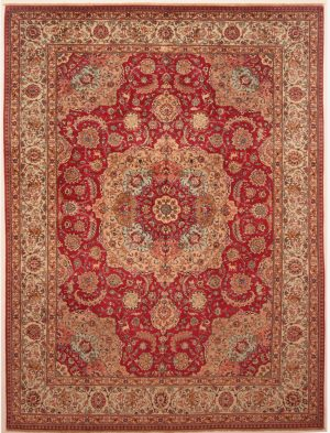 Red Floral Tabriz Rug