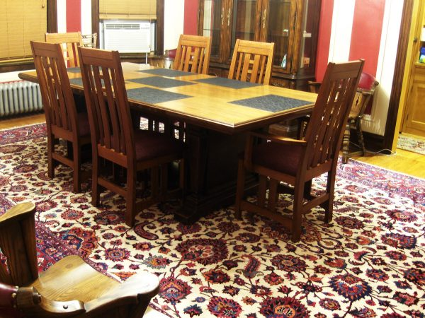 Large Mashad rug in dining room