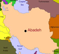 Location of Abadeh on a map