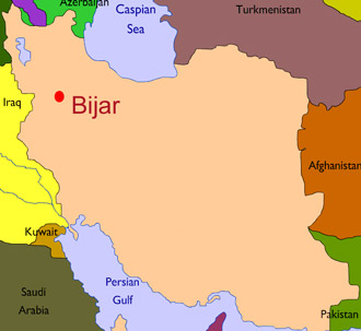 Map showing city of Bijar in Iran