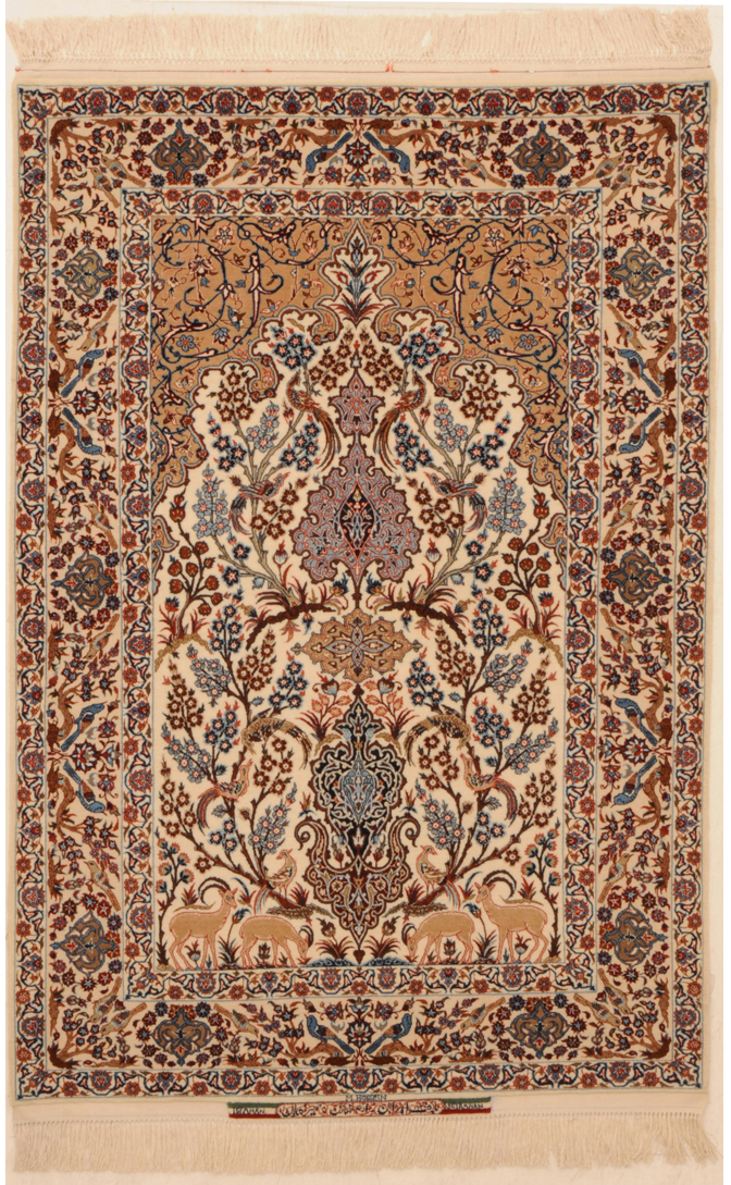ivory color silk and wool isfahan rug
