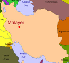 Map showing city of Malayer in Iran