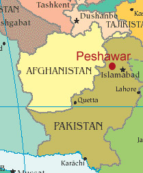 Map showing city of Peshawar in Pakistan