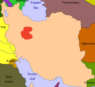 Map showing province of Arak in Iran